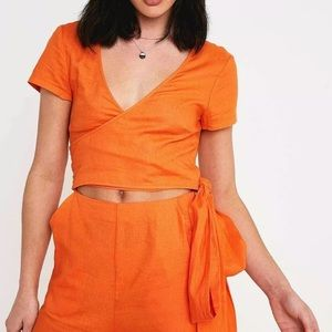 Urban Outfitters NWT Keira Jumpsuit Orange S Linen